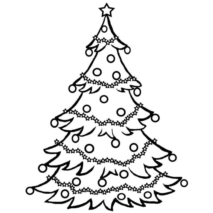 Christmas Tree Black And White Clipart